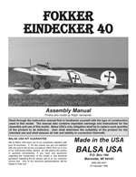 Eindecker 40 Instruction Manual only
