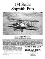 1/4 Scale Sopwith Pup Instruction Manual only