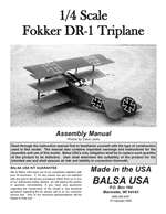 1/4 Scale Fokker DR-1 Triplane Instruction Manual only