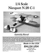 1/4 Scale Nieuport 28 Instruction Manual only