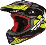 Fly Racing DEFAULT BMX Adult Helmet BLACK-LIME-PURPLE