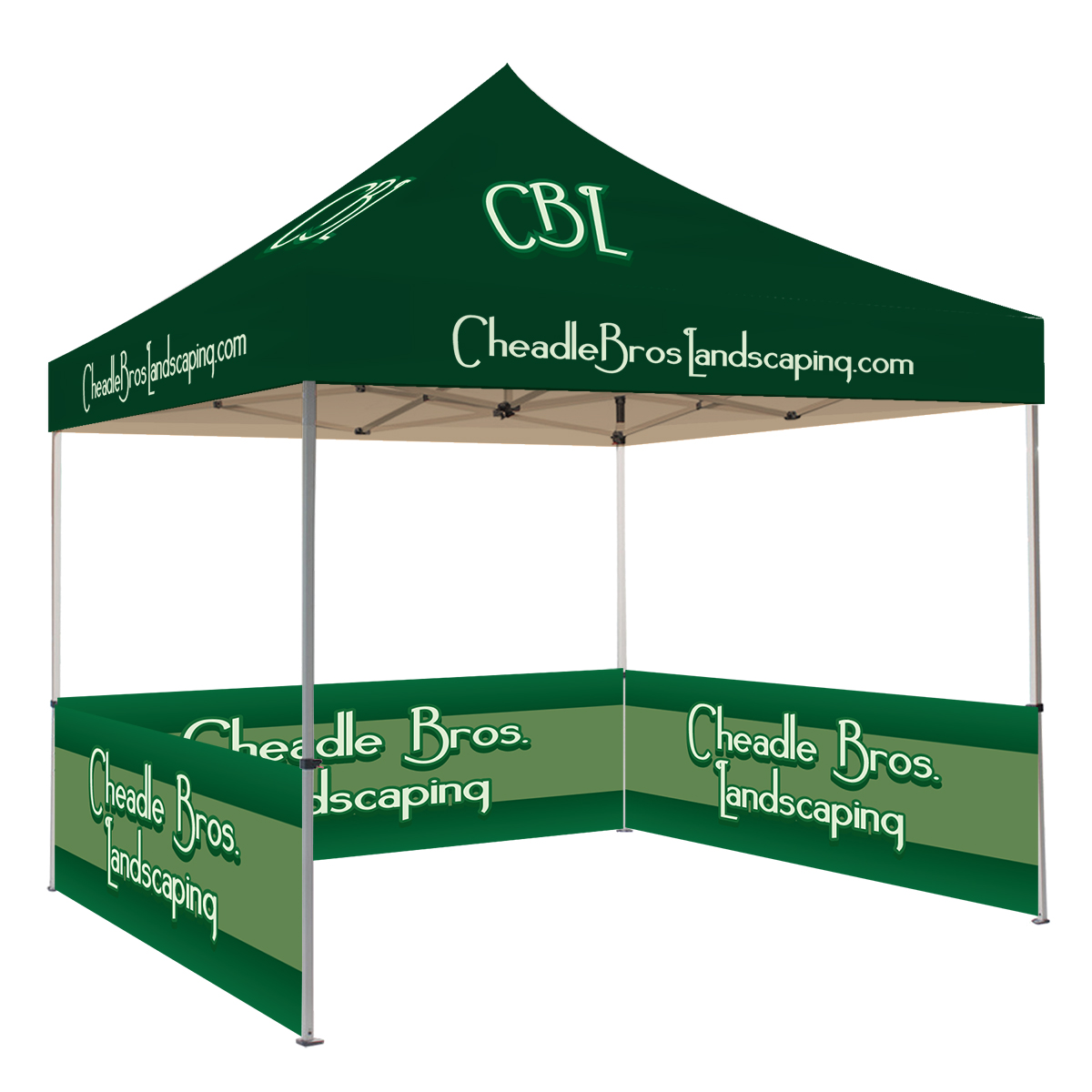 10ft Pop Up Canopy with Three Half Walls