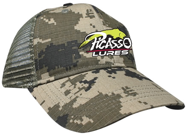 Picasso Mesh Snap Back Hats Digital Green Camo