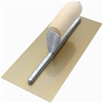 "MT165GSFP Marshalltown 16 x 5 PermaShape® Finishing Trowel ""Flat"" Golden Stainless w/ Wooden Handle"