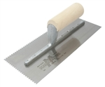 MT704 Marshalltown 11 x 4 1/2 Notched Trowel-3/32 x 3/32 x 1/8 'U' w/Straight Wood Handle
