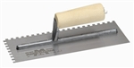 MT706 Marshalltown 11 x 4 1/2 Notched Trowel-3/32 x 3/32 x 3/32 SQ w/Straight Wood Handle