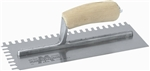 MT716S Marshalltown 11 x 4 1/2 Notched Trowel-1/4 x 3/8 x 1/4 U w/Curved Wood Handle