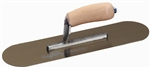 "MTMSP164GS Marshalltown 16 X 4 1/2"" Golden Stainless Steel Pool Trowel w/Curved Wood Handle"