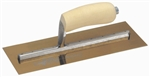"MTMXS4GS Marshalltown 11 1/2 X 4 3/4"" Golden Stainless Steel Finishing Trowel with Wooden Handle"