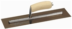 "MTMXS815GS Marshalltown 18 X 5"" Golden Stainless Steel Finishing Trowel with Wooden Handle"