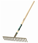 "TR31383 Truper 16Tine Level Head Rake with 60"" Wood Handle. Curved Tines. Sold in 3pks"