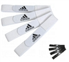 These Adidas Shinguard Straps Comfortably secure your shinguards in place with a Soft & Flexible velcro material that is easily adjustable! Includes the 3-stripe Adidas Logo, and comes in either Black or White to look great with any uniform color!