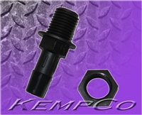 "3/8"" Hose-Barb Thru-Panel Adapter with Hex Nut - Black Nylon"