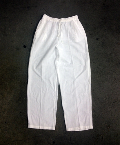Men's Light Gauze Drawstring Pants ~ White