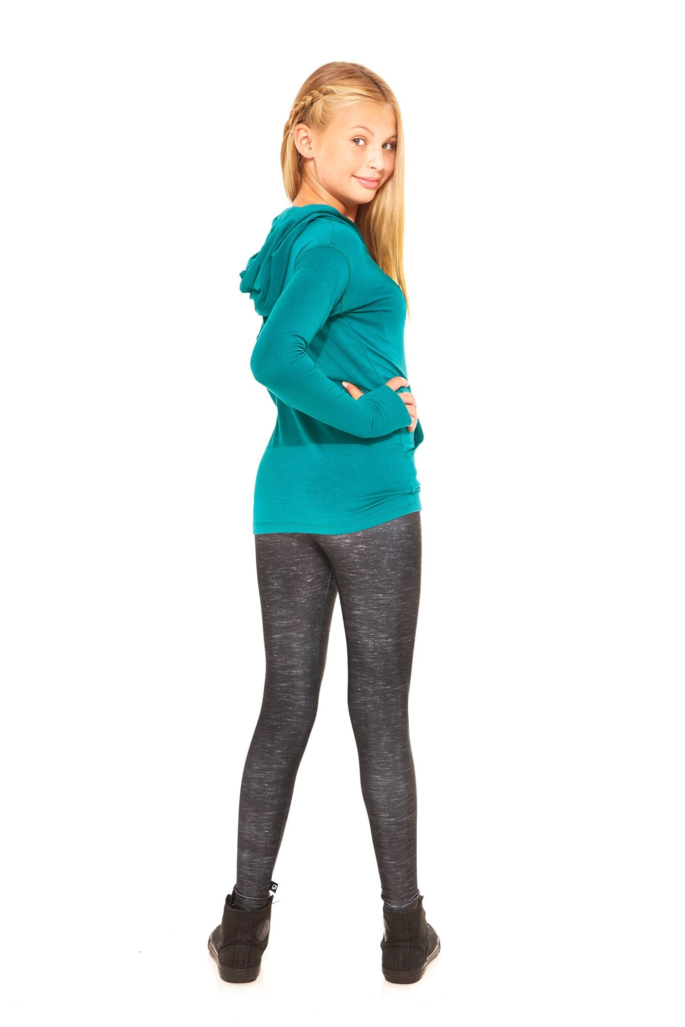 Terez - Girls Heathered Black Leggings