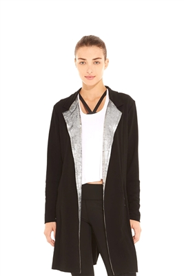 Terez Women's Metallic Velvet Lapel Duster