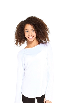Girls White Long Sleeve Baseball Top
