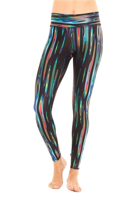 Terez - Womens Black Rainbow Liquid Metal Tall Band Leggings