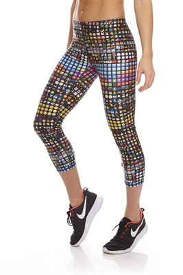Terez Womens Emoji Performance Capri Leggings