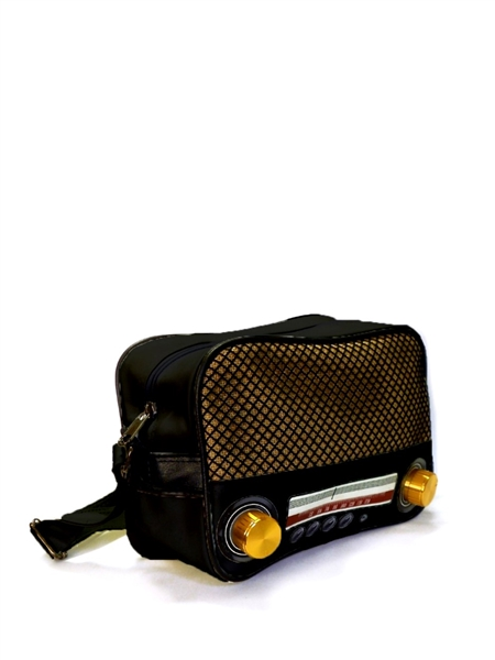 af collection small black vintage radio cross body. Black Bedroom Furniture Sets. Home Design Ideas