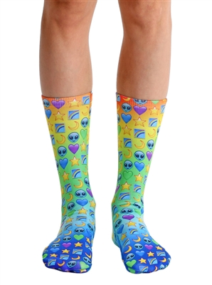 Living Royal Galaxy Emoji Crew Socks