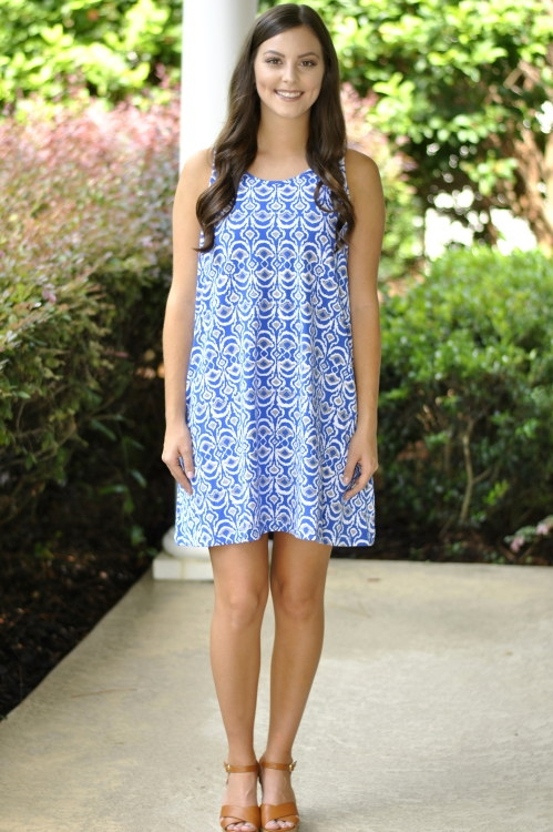 Maggie Tank Dress- Blue/White