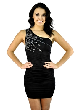 One Shoulder Rhinestone Dress