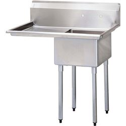 "ChefsFirst offers equipment & supplies for restaurants, commercial kitchens, foodservice & manufacturing facilities. Check out our low price for this Sink, Kitchen, 1 Compartment 18"" x 18"", 1 Drainboard 18"" Left, CC1-18L by California Cooking."