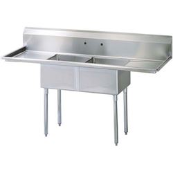 "ChefsFirst offers equipment & supplies for restaurants, commercial kitchens, foodservice & manufacturing facilities. Check out our low price for this Sink, Kitchen, 2 Compartments 18"" x 18"", 2 Drainboards 18"", CC2-18 by California Cooking."