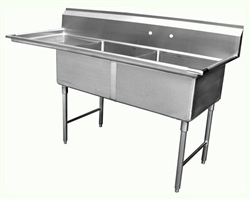 "ChefsFirst offers equipment & supplies for restaurants, commercial kitchens, foodservice & manufacturing facilities. Check out our low price for this Sink, Kitchen, 2 Compartments 18"" x 18"", 1 Drainboards 18"" On Left, CC2-18-18L by California Cooking."