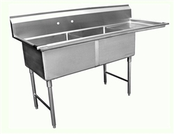 "ChefsFirst offers equipment & supplies for restaurants, commercial kitchens, foodservice & manufacturing facilities. Check out our low price for this Sink, Kitchen, 2 Compartments 18"" x 18"", 1 Drainboards 18"" On Right, CC2-18-18R by California Cooking."