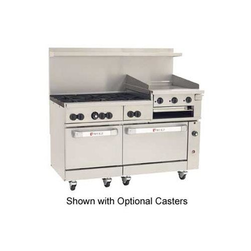 "ChefsFirst offers equipment & supplies for restaurants, commercial kitchens, foodservice & manufacturing facilities. Check out our low price for this Range, 60"", 6 Burners, 24"" Raised Griddle/Broiler, 1 Std, 1 Convection  Oven - L.P. Gas, C60-SC-6B-24GB-P"