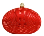 Red Rhinestone Crystal Minaudiere Clutch