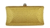 Gold Rhinestone Crystal Hard Box Cocktail Clutch Purse