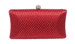 Deep Red Rhinestone Crystal Cocktail Clutch