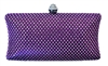 Purple Rhinestone Crystal Hard Box Cocktail Clutch Purse