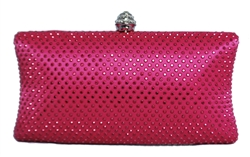 Fuchsia Pink Rhinestone Crystal Hard Box Cocktail Clutch Purse