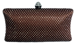 Brown Rhinestone Crystal Hard Box Cocktail Clutch Purse