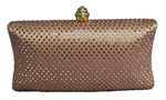 Copper Gold Rhinestone Crystal Hard Box Cocktail Clutch Purse