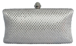 Silver Rhinestone Crystal Hard Box Cocktail Clutch Purse