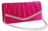Fuchsia Pink Pleated Satin Wedding Evening Bridal Clutch Purse With Rhinestones