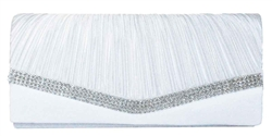 Pure White Pleated Satin Wedding Bridal Clutch