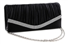 Black Pleated Satin Wedding Bridal Clutch