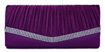Purple Pleated Satin Wedding Evening Bridal Clutch Purse