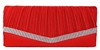 Red Pleated Satin Wedding Evening Bridal Clutch