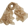 Tan Solid Polyester Chiffon Neck Scarf Wrap
