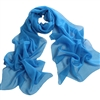 Sky Blue Solid Polyester Chiffon Neck Scarf Wrap
