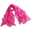 Pink Solid Polyester Chiffon Neck Scarf Wrap Stole Shawl