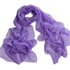 Lilac Solid Polyester Chiffon Neck Scarf Wrap Stole Shawl