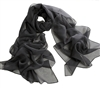 Gray Solid Polyester Chiffon Neck Scarf Wrap Stole Shawl